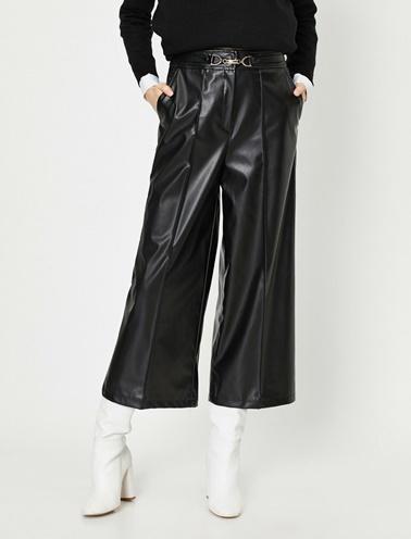 Koton Deri Görünümlü Pantolon Siyah
